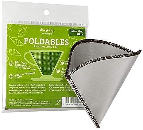 dripdrip foldables Filtro Permanente para pour Over Caf/é de Acero Inoxidable Red f/ür Hario 02 1-4 Tassen