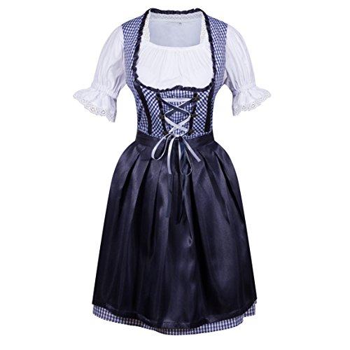 HIMONE Damen Dirndl 3 tlg.Trachtenkleid Kleid Trachtenkleid Set, Kleid mit Bluse und Schürze (40,Blau)