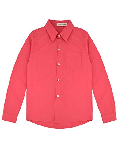 - Spring&Gege Boys' Long Sleeve Solid Formal Cotton Twill Dress Shirts Red 4-5 Years
