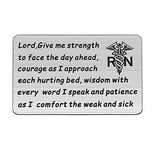 (HOLLP Nurse Prayer Wallet Card Lord Give Me Strength Courage Wisdom Patience Gift for Nurse Nursing School Graduation Gift RN Jewelry)