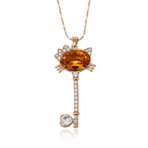 Xuping Christmas Lovely Cat Jewelry Crystals from Swarovski Necklace Pendant Women Girl Gift (Topaz)
