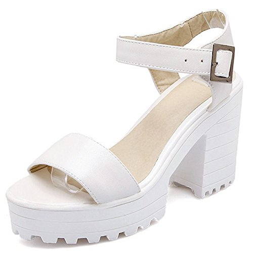 Fashion LongFengMa Block Women's Heeled Platforms Sandals White 5wURHn
