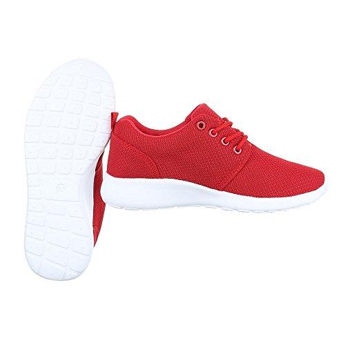 Ital-Design Low-Top Sneaker Damenschuhe Low-Top Sneakers Schnürsenkel Freizeitschuhe Rot KK-60