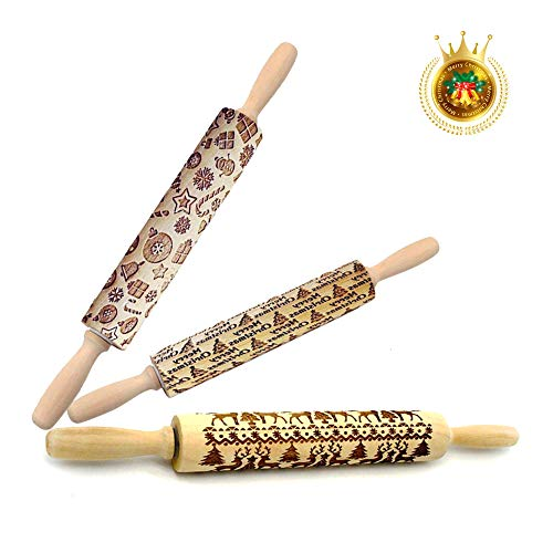 Christmas Wooden Rolling Pins,Engraved Embossing Rolling Pin with Christmas Deer Pattern,Christmas Themed Embossing Rollers for Baking Embossed Cookies 14
