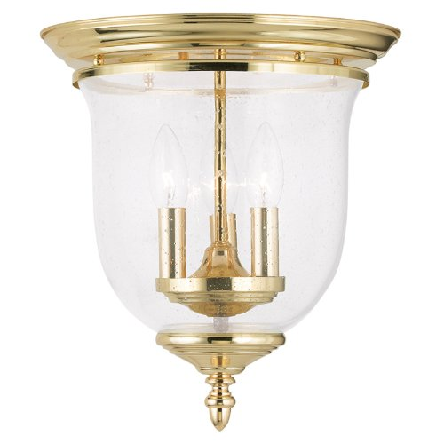 Livex Lighting 5024-02 Legacy 3-Light Ceiling Mount, Polished Brass - Polished Brass Three Light Foyer