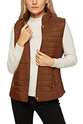 (Urban CoCo Women's Quilted Vest Jacket Zip Up Padded Slim Fit (L, Brown))