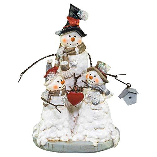 (Hanna's Handiworks Snowman Family Tabletop Silver Scarf 6 x 4 Resin Stone Christmas)