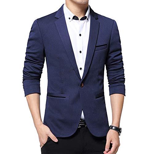 Elégant Costumes Slim Xfentech Tops Affaires Blousons Hommes Manches Longues Fit Décontractés Blazer Simple Bleu UFn8wEnRq