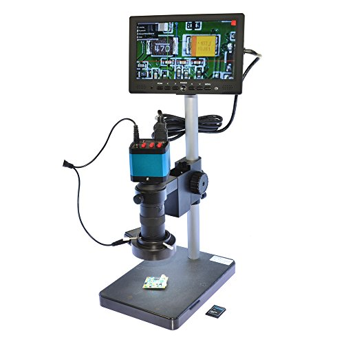 Aihome 14MP HDMI USB Digital Industry Microscope Camera 100X Zoon C-mount Lens 8GB TF Card 7'' inch HDMI LCD Monitor (100X Zoon C-mount Lens) by Aihome