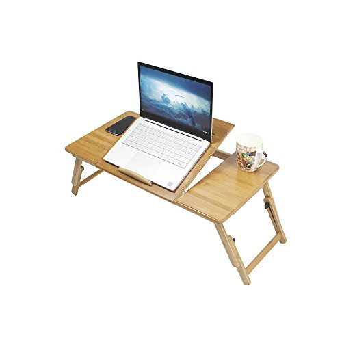 Yofit Bamboo Laptop Desk Adjustable Foldable Breakfast Serving Bed Tray with Tilting Top Drawer (27.5inch)