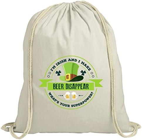 Saint Patrick´s Day St. Patricks Day natur Rucksack Turnbeutel I'm Irish And I Make Beer Disappear