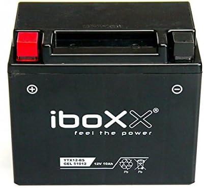 Iboxx Motorrad Gel Batterie // Gelbatterie YTX12-BS 1997 ZX600F 12 Volt Bj 3 10 Ah f/ür Kawasaki ZX-6R 600 F Ninja