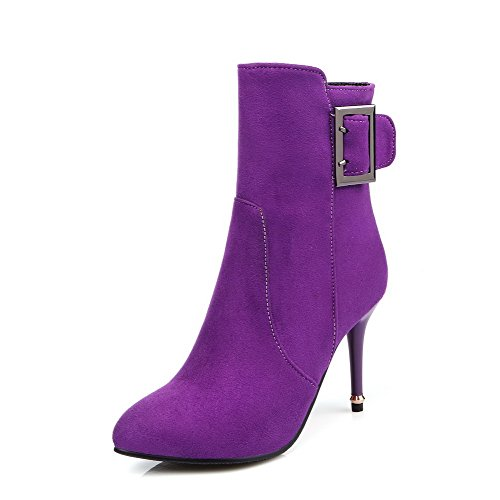 Purple Pointed Toe Zipper Closed Frosted Women's High WeiPoot Top Low Boots Heels HwXtP7qc