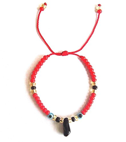 LUXURYGOLD888 AZABACHE RED Bracelet with Evil Eye (Adult) / PULSERA DE AZABACHE para Adulto Rojo