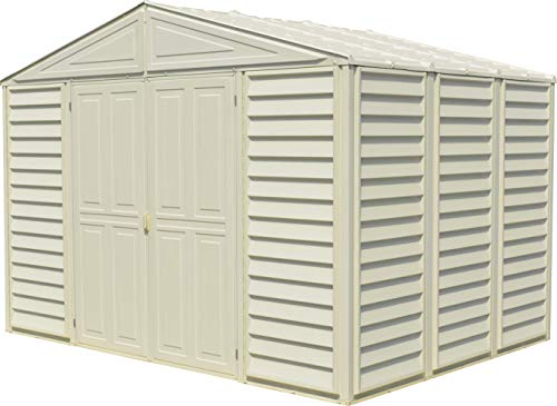 Duramax Outdoor Shed - Duramax Woodbridge 10.5 Ft. x 8 Ft. Vinyl Outdoor Storage Shed, Garden Tool Sheds | Made of Fire Retardant PVC Resin, All-Weather, Waterproof Outdoor Solution, Store Bikes, Tools, BBQ, Home Gym