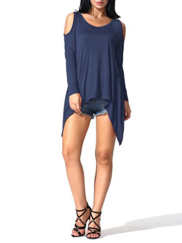 Prime Deal JayJay Women Prime Plus Size Long Sleeve Summer Tunic Tops,NAVY,S