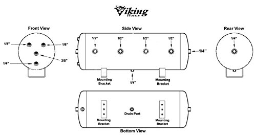 Viking Horns 10 Port 8 Gallon Steel Air Tank for Air Lift Susspention Systems