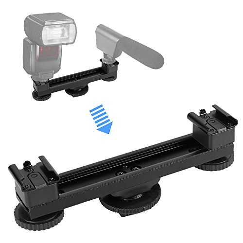 ar Mount, pangshi B-12 Hot Shoe Dual Bracket 1 to 2 for Canon Nikon Sony Pentax Olympus DSLR Camera, Camcorder, Flashes, lights, Microphone, DV Camera, LED Video Light (Dual Mount Adapter)