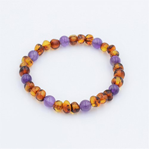 Baltic Amber and Amethyst Adult Bracelet, Natural Pain Relief, Polished Amber
