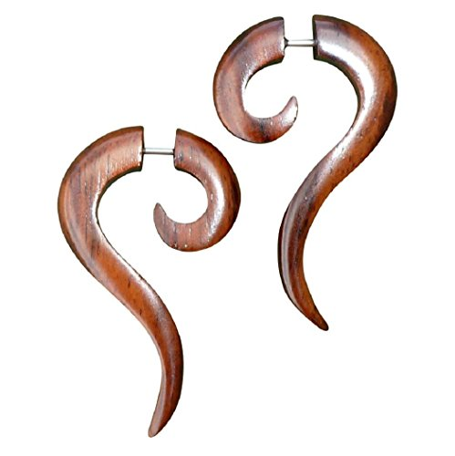 UMBRELLALABORATORY Natural Tribal Organic Wooden Earrings Fake Gauges Sold As Pair Bohemian Jewelry for Yoga,Meditation, Beach