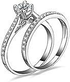 Amesii Women Engagement Wedding 2Pcs Set Cubic Zirconia Faux 925 Sterling Silver Rings Size 6-10