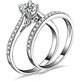 Amesii Women Engagement Wedding 2Pcs Set Cubic Zirconia Silver Plated Rings Size 6-10