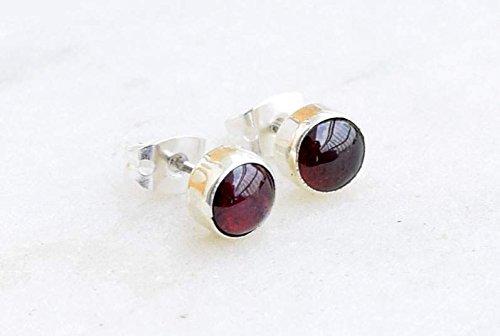 925 Sterling Silver Garnet Stud Post Earring Gemstone Earring 6 MM Round Girl Women Gift