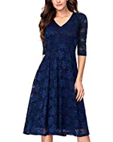 Noctflos Navy Lace Flare Mid Calf Evening Cocktail Dress for Women with Sleeves