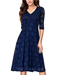 5ec91a72ee48 Women s 3 4 Sleeves Lace Fit   Flare Midi Cocktail Dress for Women Party  Wedding