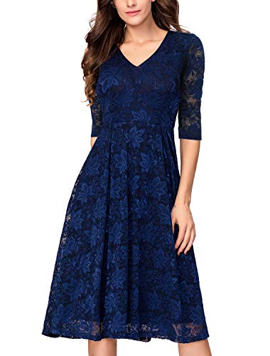 Noctflos Winter 3/4 Sleeves Navy Lace Flare Cocktail Dresses for Women Wedding Guest Holiday Church Christmas Party (Jewelry To Wear With Lace Wedding Dress)