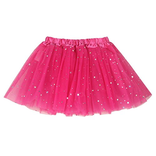 (Buenos Ninos Girl's 3 Layers Sequin Ballet Skirt With Sparkling Stars Dress-up Tutu, Hot Pink, Free size)