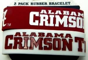 Alabama Crimson Tide Bama Ncaa Football Silicone Rubber Wrist Bands Bracelets Set of 2