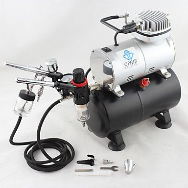 WST 2-Airbrush Air Tank Dual Action Airbrush Spray Compressor Kit 0.3mm & 0.35mm for Cake Decoration 110V,220V , 110v by ZHUQUE (Image #3)