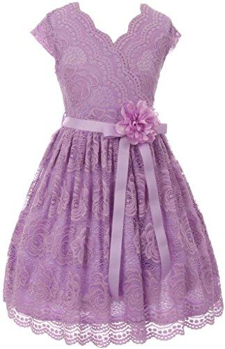 [Little Girl Cap Sleeve V Neck Flower Border Stretch Lace Corsage Belt Flower Girl Dress (20JK66S) Lilac 6] (Romantic Bridals Flower Girl Dress)