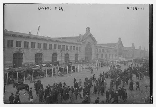 HistoricalFindings Photo: Cunard Pier,buildings,automobiles,cars,crowds,Bain Service
