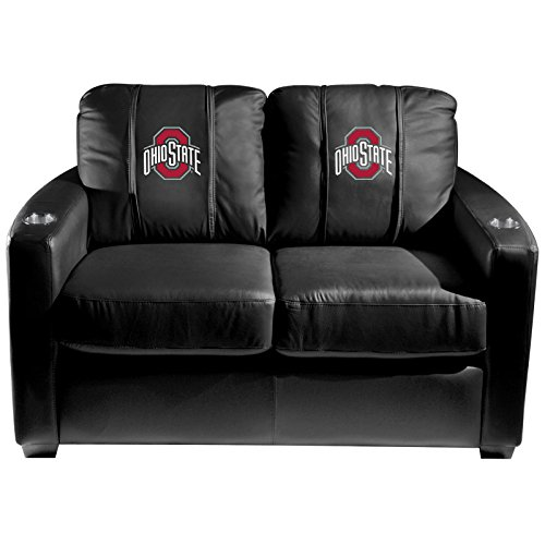 XZipit College Silver Loveseat with Ohio State Primary Logo Panel, Black