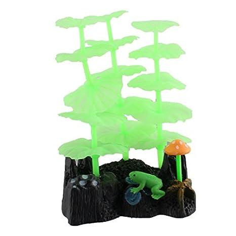 DealMux pecera acuario artificial que brilla rocalla Coral Lotus hoja de la planta de la rana Decoración: Amazon.es: Productos para mascotas