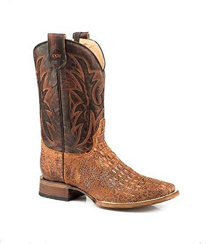 - Roper Men's Size 10 Brown Pierce Emboss Leather Concealed Carry Square Toe Western Cowboy Boots