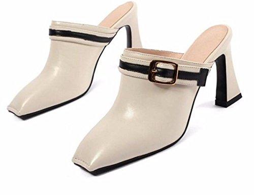 GTVERNH Zapatos de Mujer/Cuero Baotou Las Zapatillas La Moda La Moda La Plaza Elegante Salvaje de 8 Cm De Tacon Alto Sandalias De Tacones En Bruto Marea. Beige