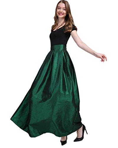 FOLOBE Women's Big Pendulum Taffeta A Line Maxi Skirts Length 43.31in/110cm Darkgreen L