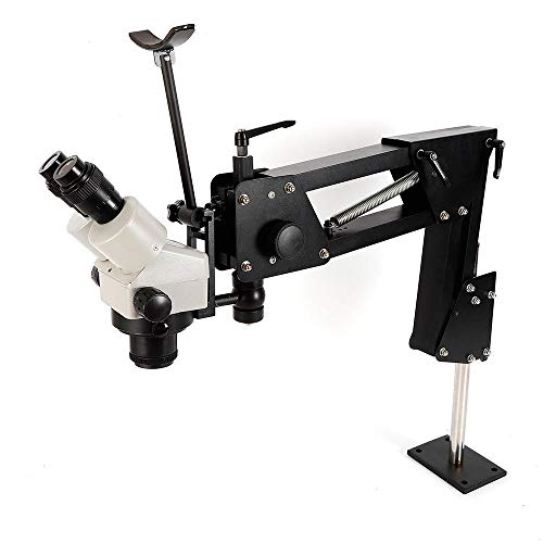 HYYKJ Microscope Jewelry Inlaid Stand and Multi-Directional Microscope Binocular Stereo Zoom 7X-4.5X Micro Inlaid Mirror Spring Bracket Micro-Setting Microscope Jewelry Making Tool (85mm Bracket Hole)