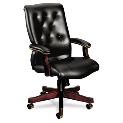 HON 6540 Series Executive High-Back Chair | Knee-Tilt | Fixed Arms | Wood Trim | Mahogany Finish | Black Vinyl