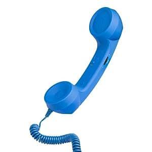 Technoit Coco Phone - Auricular universal, diseño teléfono retro, azul