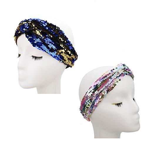 JETEHO 2 Pcs Turban Headbands Women Fashion Sequin Glitter Twist Headbands Sequin Elastic Headwrap for Party Performance