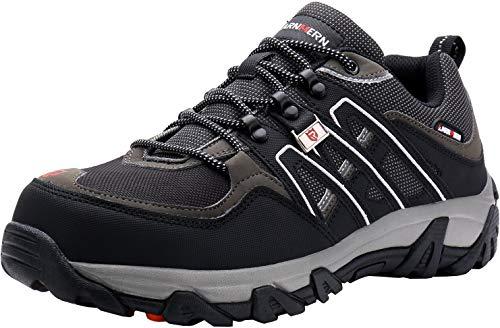 LARNMERN Steel Toe Shoes Men, Safety Work Reflective Strip Puncture Proof Footwear Industrial & Construction Shoe (6, Black Grey)