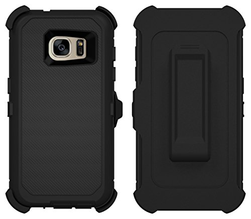 Galaxy S7 Case, Caseologist [Armor Series] [Shock Proof] [Black] for Samsung Galaxy S7 Case [Built in Screen Protector] [with Holster & Belt Clip] [Fits OtterBox Defender Series Belt Clip]