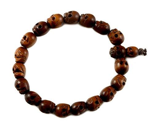 Spyglass Designs Men's Skull Bracelet Brown Wooden Carved Mala Beads Man's Male Adjustable, 8