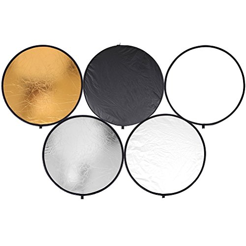 Golden/Sliver Round Disk 5 in 1 Portable Lightweight Circular Steel-Framed Photography Studio Light Mulit Collapsible Disc Reflector