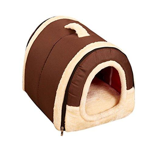 Classic Brown Medium Classic Brown Medium Detachable Dual Use Pet Puppy Dog Cat Soft Bed Fleece Cozy Warm House Cotton Mat