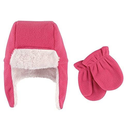 Hudson Baby Baby Fleece Trapper Hat and Mitten Set, Dark Pink 3T